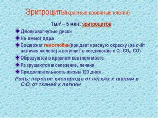 Эритроциты(красные кровяные клетки) 1мл3 – 5 млн. эритроцитов Двояковогнутые
