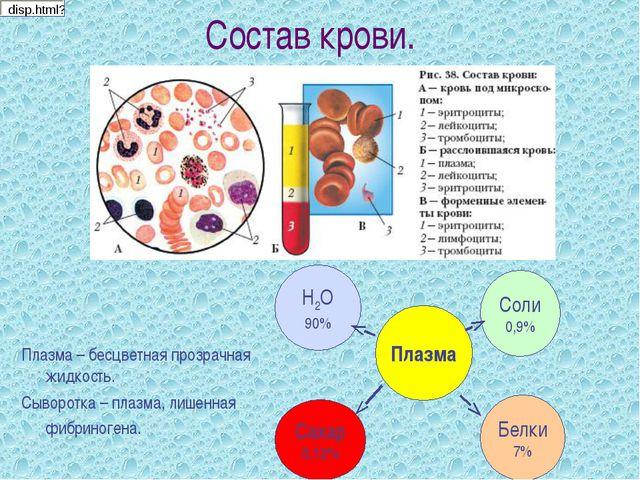Состав крови. Плазма – бесцветная прозрачная жидкость. Сыворотка – плазма, ли...