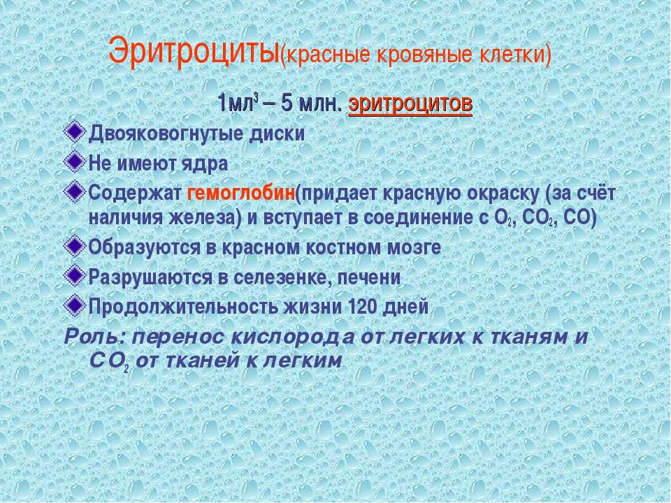 Эритроциты(красные кровяные клетки) 1мл3 – 5 млн. эритроцитов Двояковогнутые...