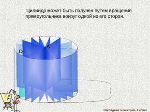 В С Цилиндр может быть получен путем вращения прямоугольника вокруг одной из
