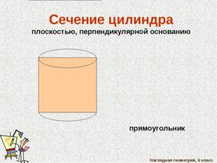 Наглядная геометрия, 6 класс Сечение цилиндра плоскостью, перпендикулярной ос