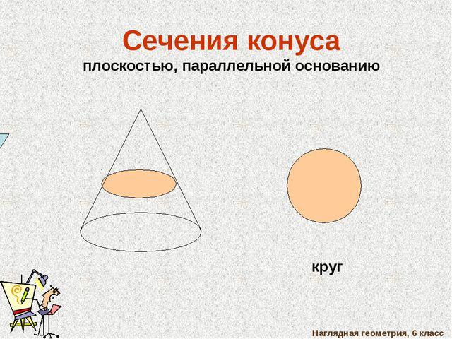 Наглядная геометрия, 6 класс Сечения конуса плоскостью, параллельной основани...