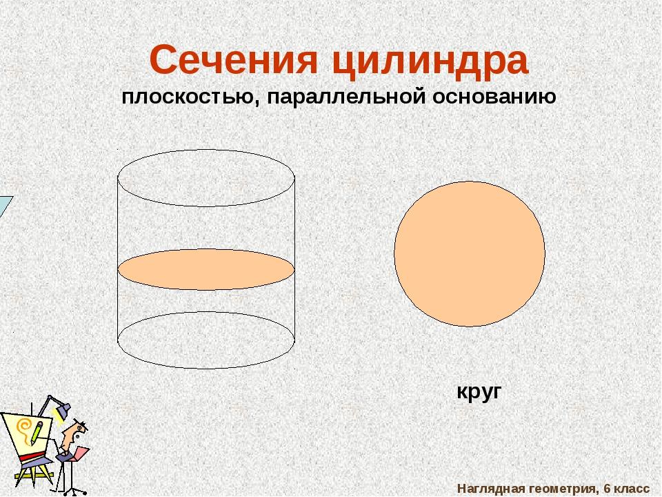 Наглядная геометрия, 6 класс Сечения цилиндра плоскостью, параллельной основа...