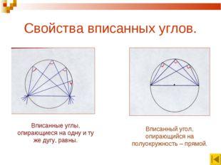 Свойства вписанных углов. Вписанные углы, опирающиеся на одну и ту же дугу, р