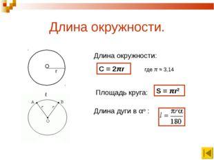 Длина окружности. О r Длина окружности: Длина дуги в αo : C = 2πr где π ≈ 3,1