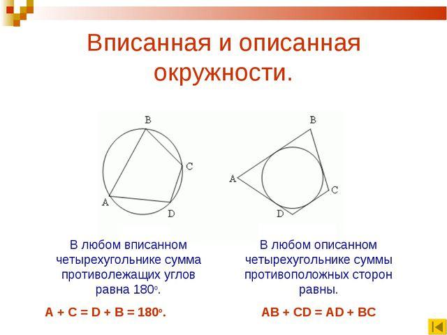 Вписанная и описанная окружности. В любом вписанном четырехугольнике сумма пр...