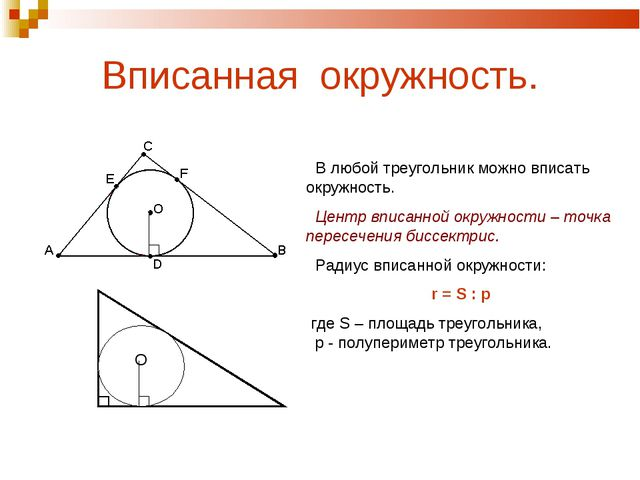 Вписанная окружность. В любой треугольник можно вписать окружность. Центр впи...