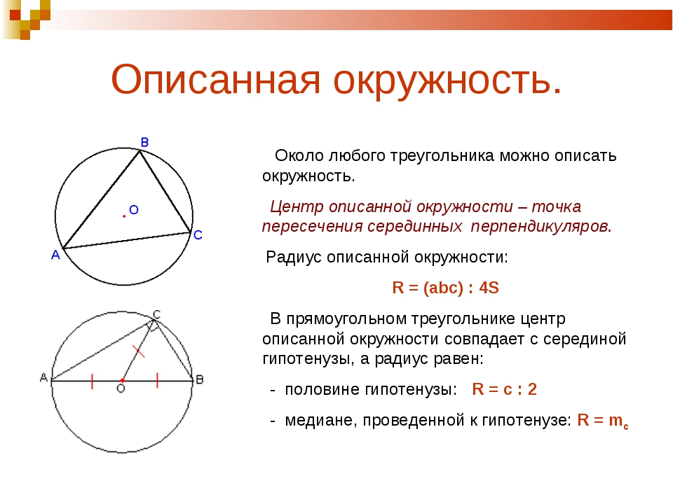 Описанная окружность. Около любого треугольника можно описать окружность. Цен...