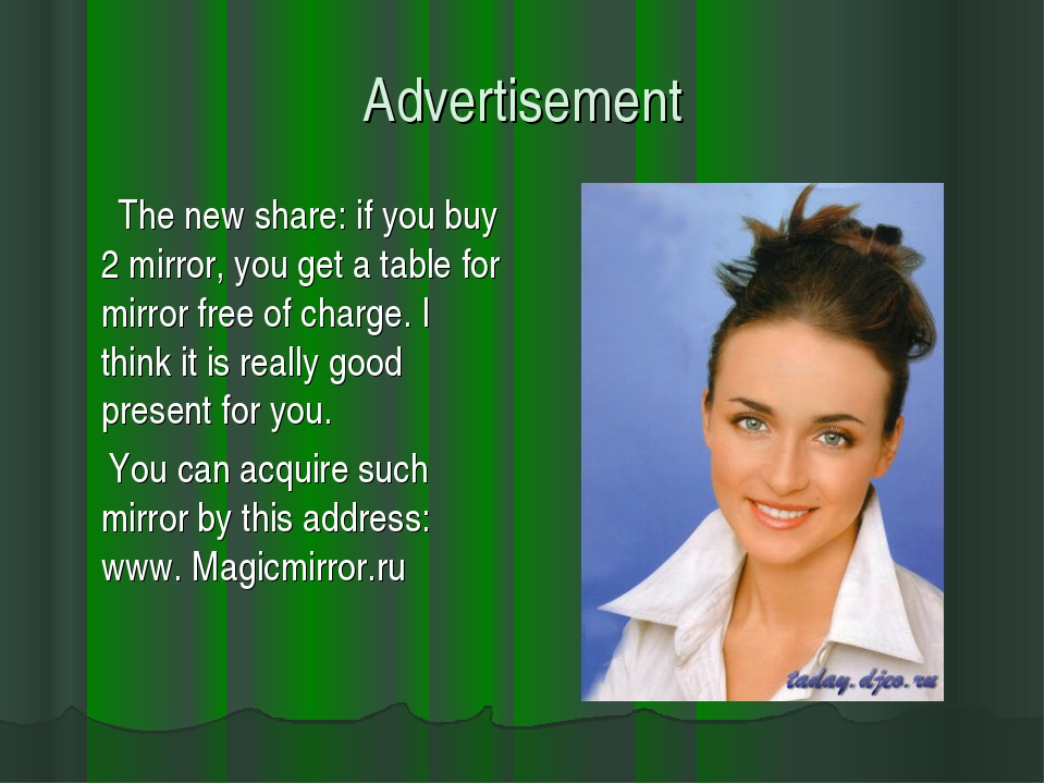Advertisement The new share: if you buy 2 mirror, you get a table for mirror...