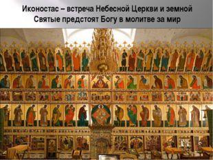 Иконостас – встреча Небесной Церкви и земной Святые предстоят Богу в молитве