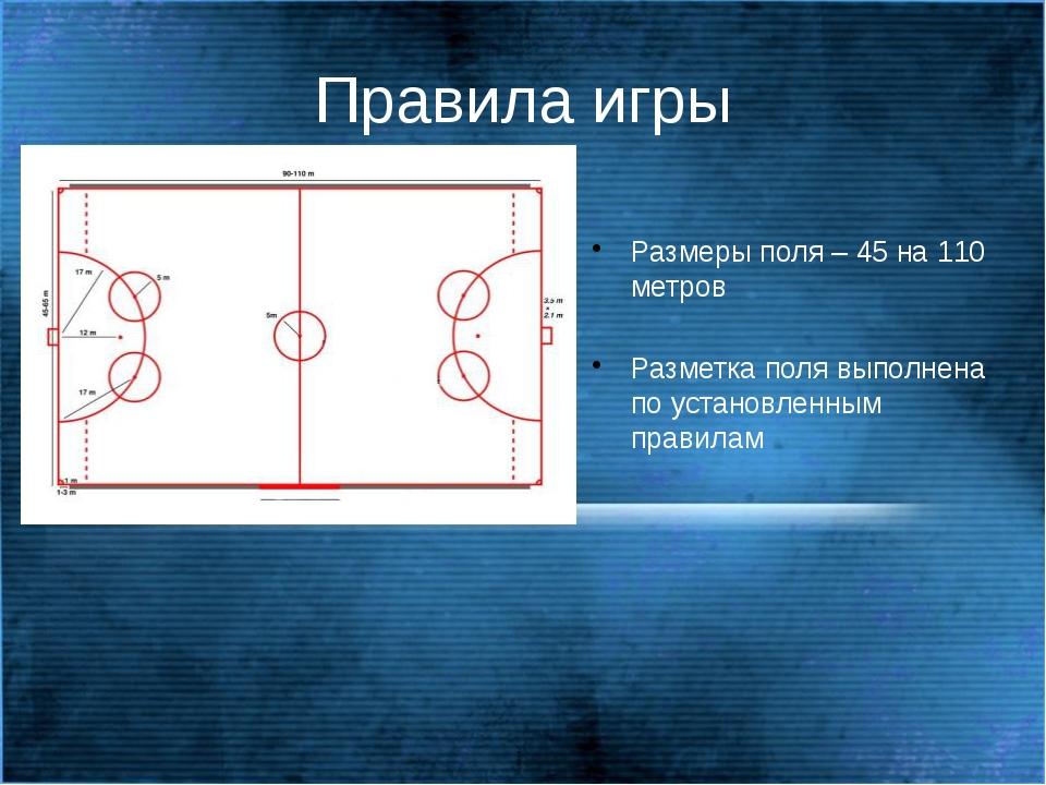 Правила игры Размеры поля – 45 на 110 метров Разметка поля выполнена по уст...