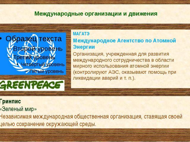 Международные организации и движения МАГАТЭ Международное Агентство по Атомн...