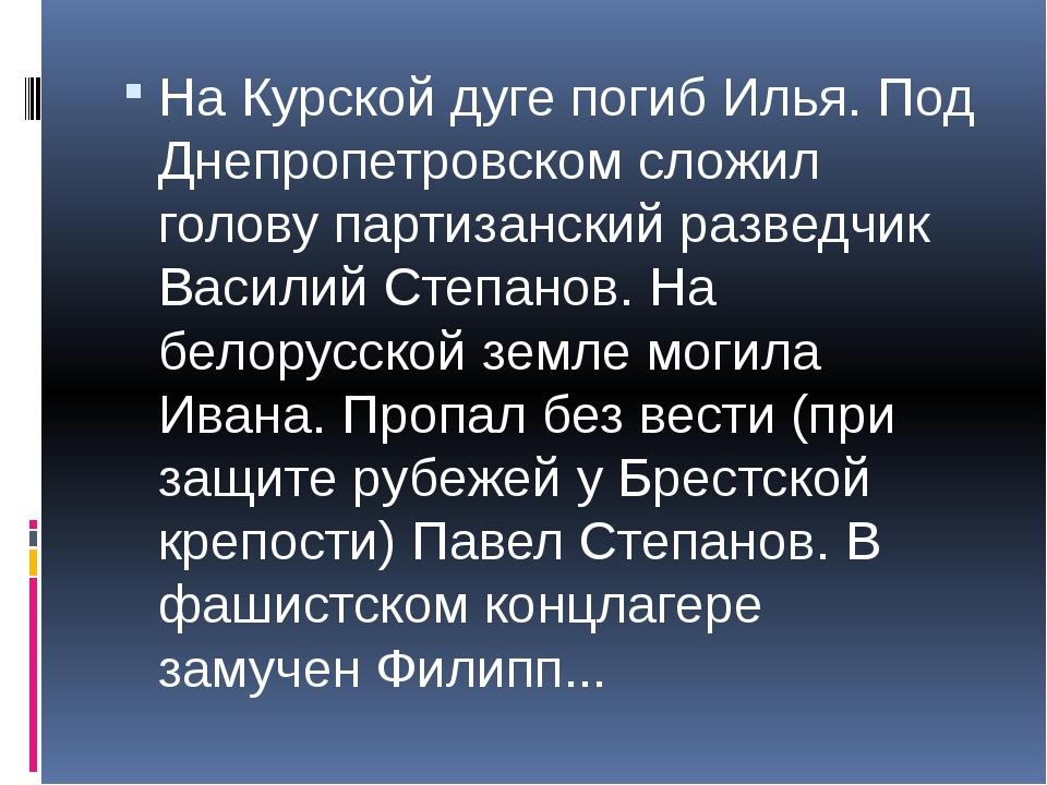 На Курской дуге погиб Илья. Под Днепропетровском сложил голову партизанский...