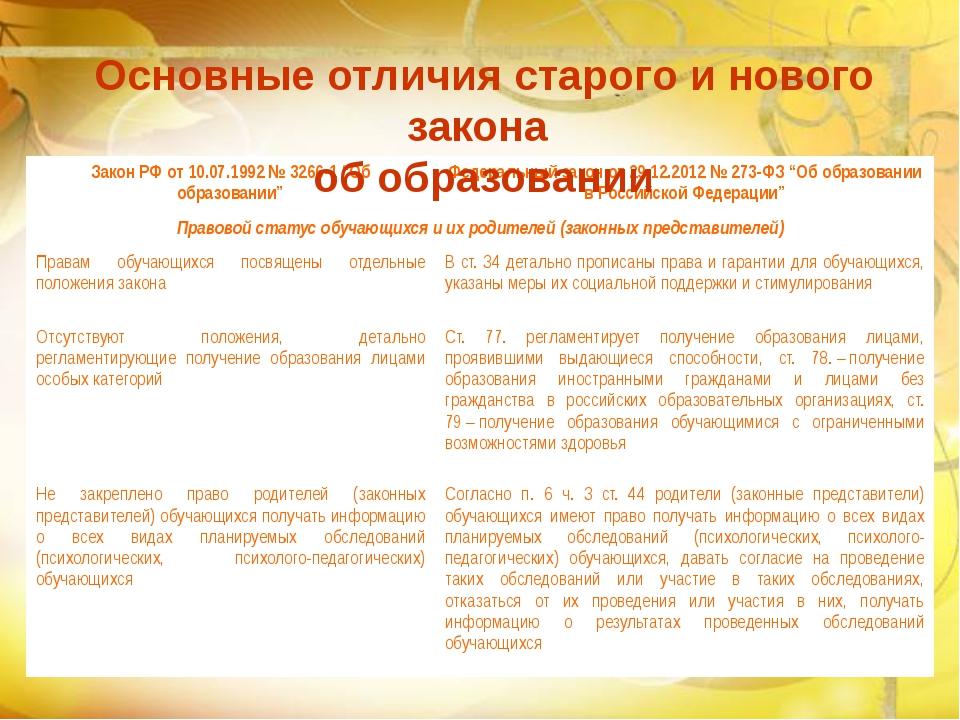 Основные отличия старого и нового закона об образовании Закон РФ от 10.07.19...