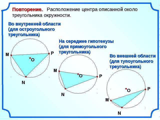 М N P Повторение. Расположение центра описанной около треугольника окружности...