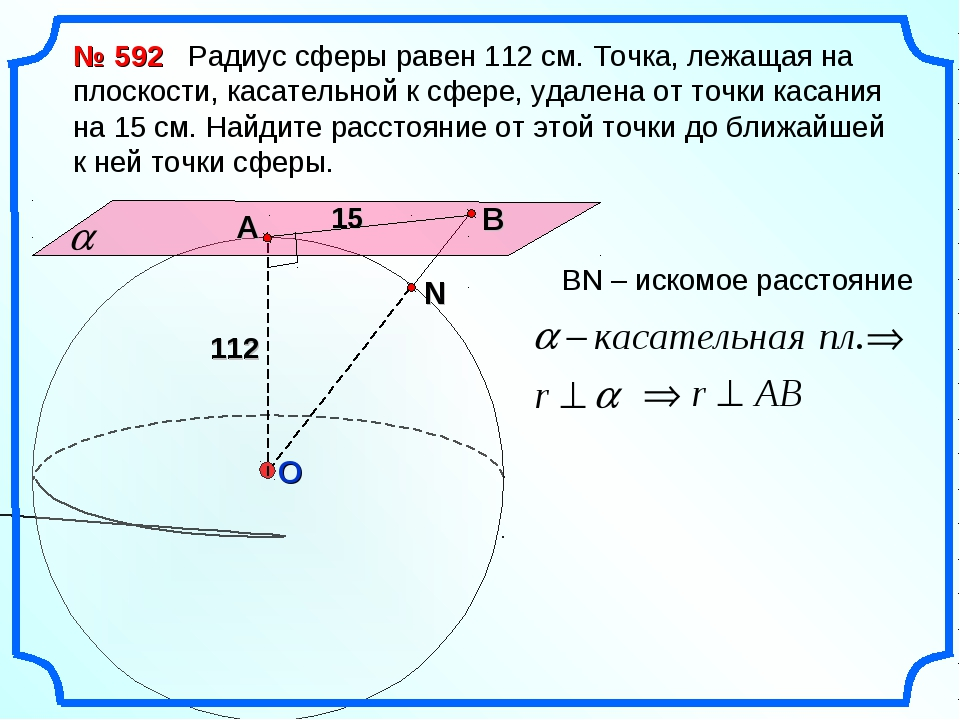 № 592 Радиус сферы равен 112 см. Точка, лежащая на плоскости, касательной к с...