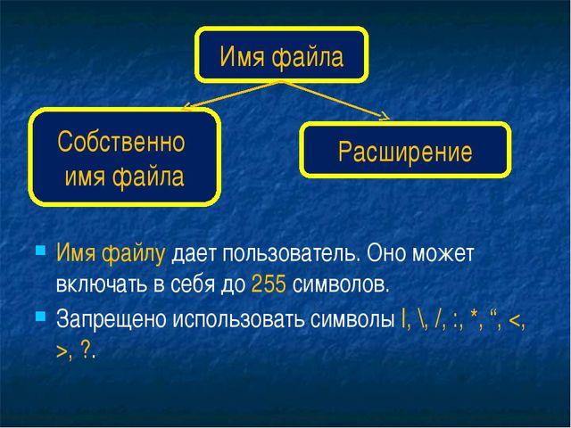 Имя файла Собственно имя файла Расширение Имя файлу дает пользователь. Оно мо...