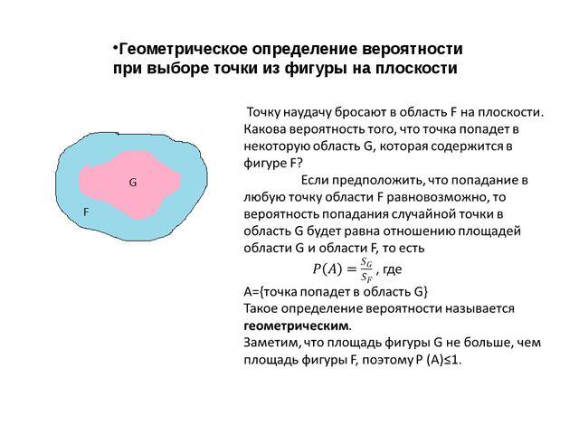 Геометрическое определение вероятности при выборе точки из фигуры на плоскости