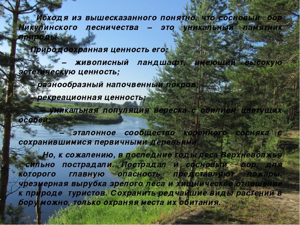 Исходя из вышесказанного понятно, что сосновый бор Никулинского лесничества...