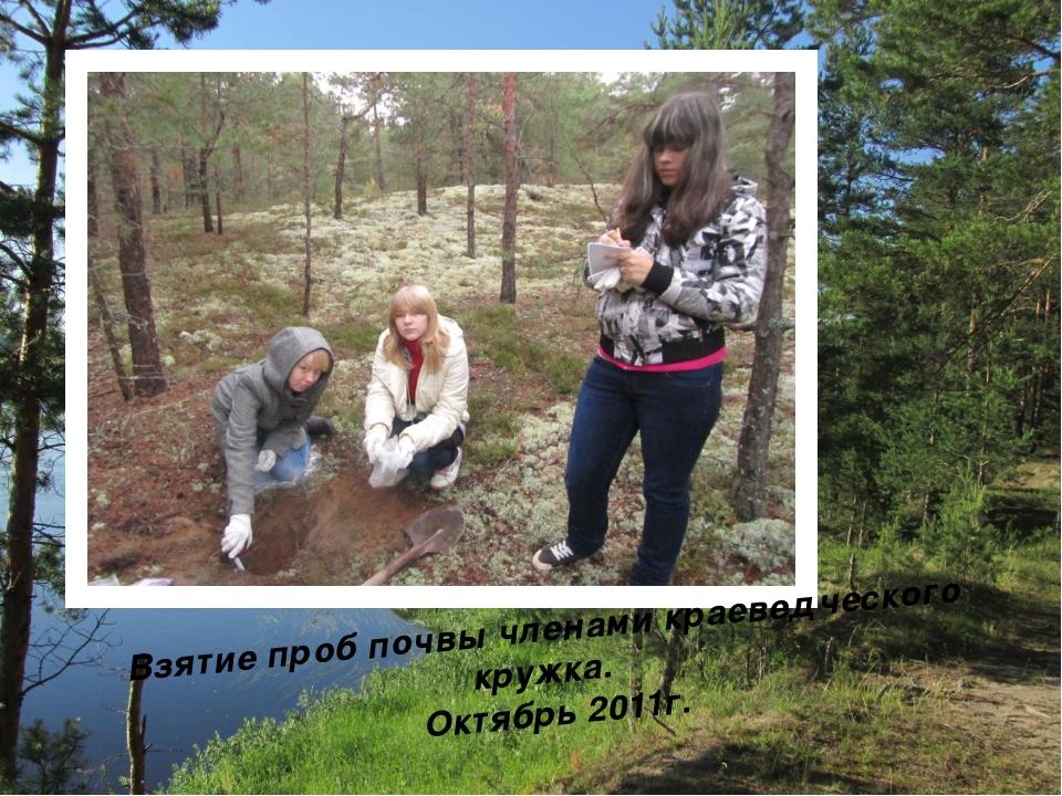 Взятие проб почвы членами краеведческого кружка. Октябрь 2011г.