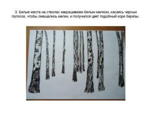 3. Белые места на стволах закрашиваем белым мелком, касаясь черных полосок, ч