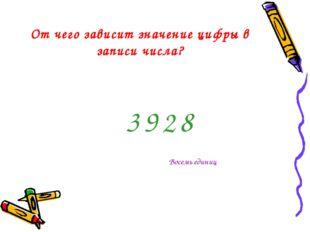 От чего зависит значение цифры в записи числа? 3 8 2 9 Восемь единиц