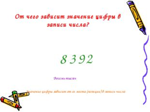 От чего зависит значение цифры в записи числа? 3 8 2 9 Значение цифры зависит