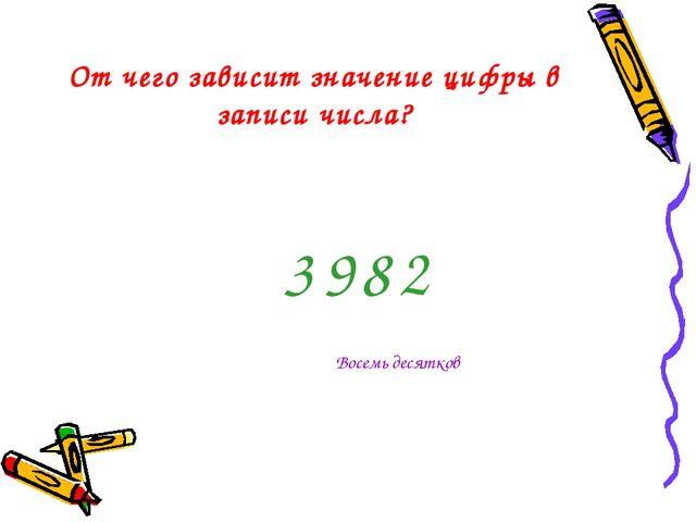 От чего зависит значение цифры в записи числа? 3 8 2 9 Восемь десятков