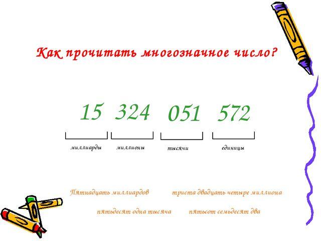 Как прочитать многозначное число? 15 324 051 572 единицы тысячи миллионы милл...