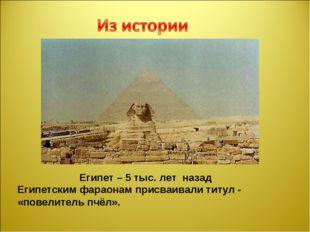 Египет – 5 тыс. лет назад Египетским фараонам присваивали титул - «повелитель