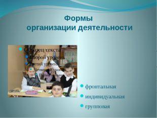 Формы организации деятельности фронтальная индивидуальная групповая