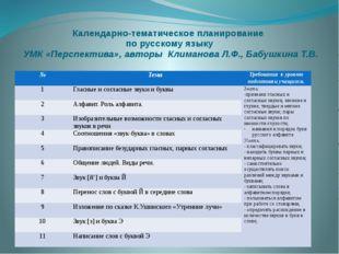Календарно-тематическое планирование по русскому языку УМК «Перспектива», авт