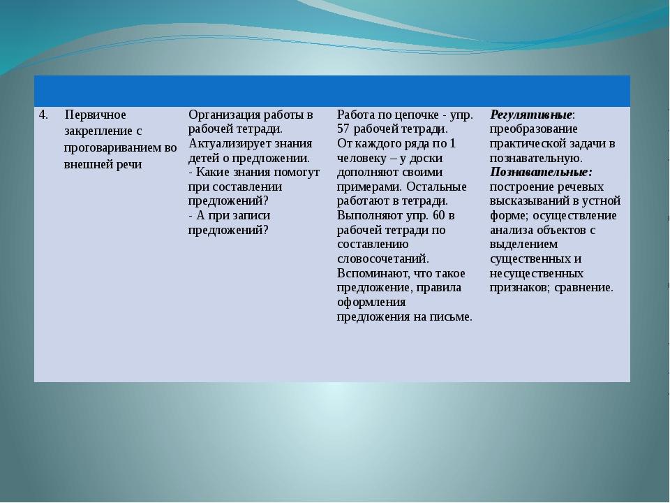 4. Первичноезакрепление с проговариванием во внешней речи Организация работы...