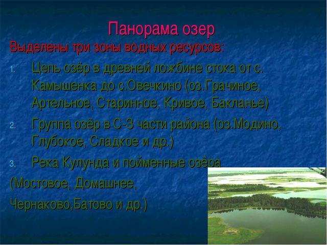 Панорама озер Выделены три зоны водных ресурсов: Цепь озёр в древней ложбине...