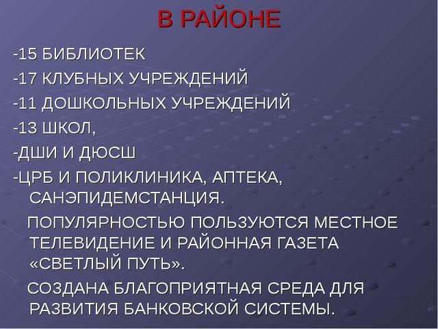 В РАЙОНЕ -15 БИБЛИОТЕК -17 КЛУБНЫХ УЧРЕЖДЕНИЙ -11 ДОШКОЛЬНЫХ УЧРЕЖДЕНИЙ -13 Ш...