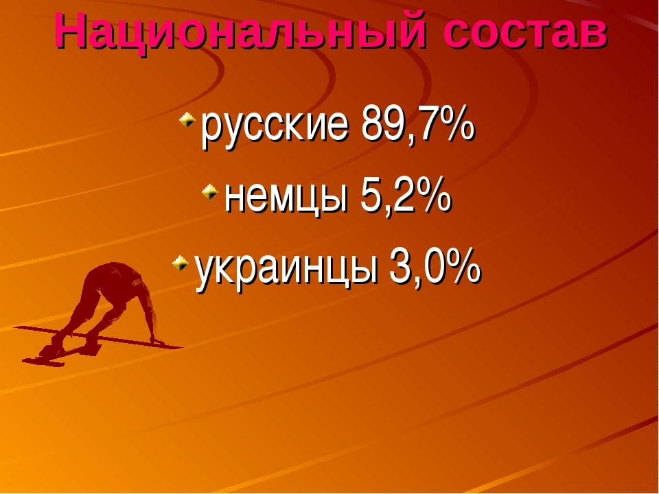 Национальный состав русские 89,7% немцы 5,2% украинцы 3,0%
