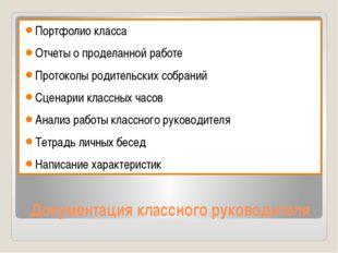 Документация классного руководителя Портфолио класса Отчеты о проделанной раб