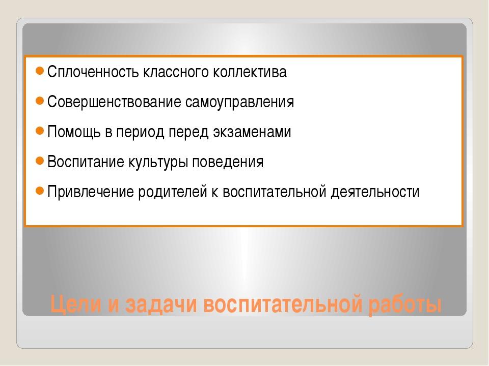 Цели и задачи воспитательной работы Сплоченность классного коллектива Соверше...