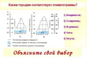 Каким городам соответствуют климатограммы? 1) Владивосток; 2) Ставрополь; 3)