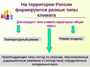 На территории России формируются разные типы климата Для каждого типа климата