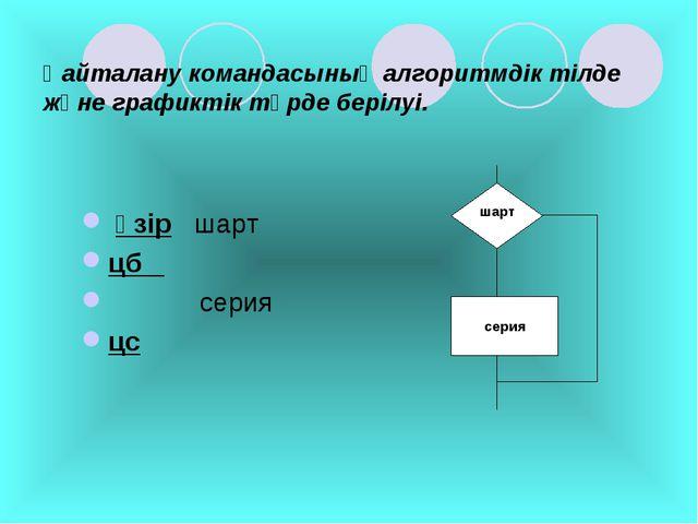 Қайталану командасының алгоритмдік тілде және графиктік түрде берілуі. әзір ш...
