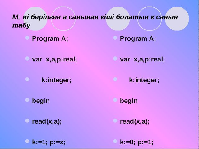 Мәні берілген а санынан кіші болатын к санын табу Program A; var x,a,p:real;...