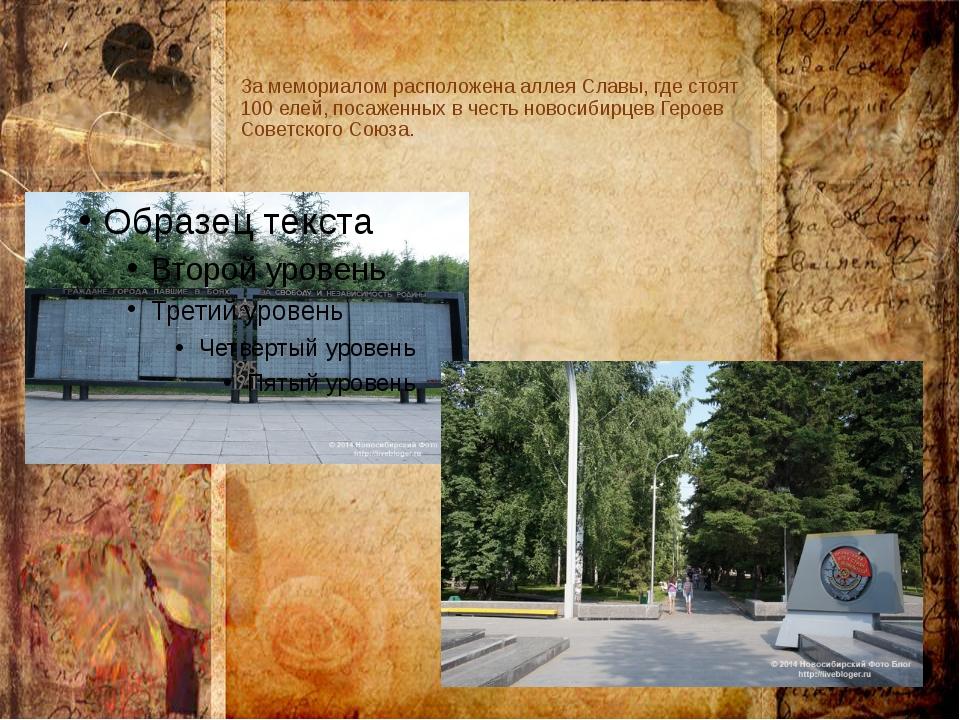 За мемориалом расположена аллея Славы, где стоят 100 елей, посаженных в честь...