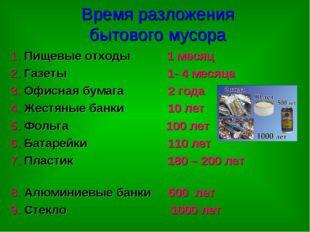 Время разложения бытового мусора 1. Пищевые отходы 1 месяц 2. Газеты 1- 4 мес