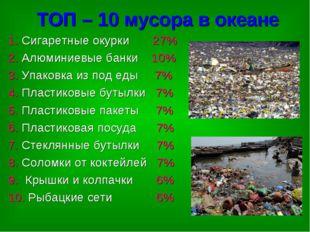 ТОП – 10 мусора в океане 1. Сигаретные окурки 27% 2. Алюминиевые банки 10% 3.