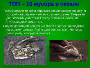ТОП – 10 мусора в океане Тихоокеанские течения образуют своеобразную воронку,