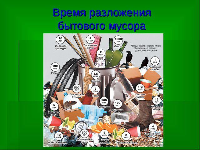 Время разложения бытового мусора