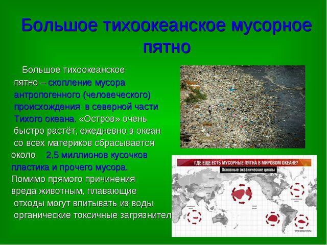 Большое тихоокеанское мусорное пятно Большое тихоокеанское пятно – скопление...