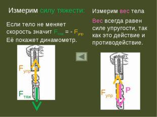 Измерим силу тяжести: Если тело не меняет скорость значит Fтяж = - Fупр Её по