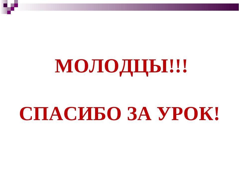 МОЛОДЦЫ!!! СПАСИБО ЗА УРОК!